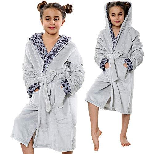 A2Z 4 Kids Kinder Mädchen Designer Leopard Aufdruck Flanell Vlies Mit Kapuze - Bathrobe 125 Grey 13