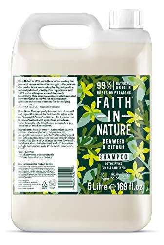 Faith in Nature Natürliches Seetang & Zitrus Shampoo, Entgiftend, Vegan & Ohne Tierversuche, Frei von Parabenen und SLS, für Alle Haartypen, 5 L Nachfüllpackung