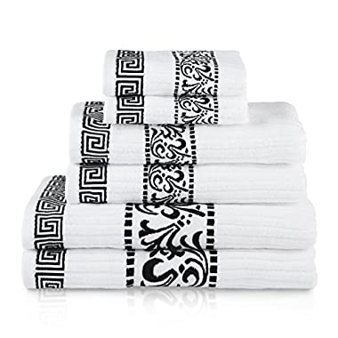 Superior Athens 100% Cotton, Soft, Extremely Absorbent, Beautiful 6 Piece Towel Set, Black