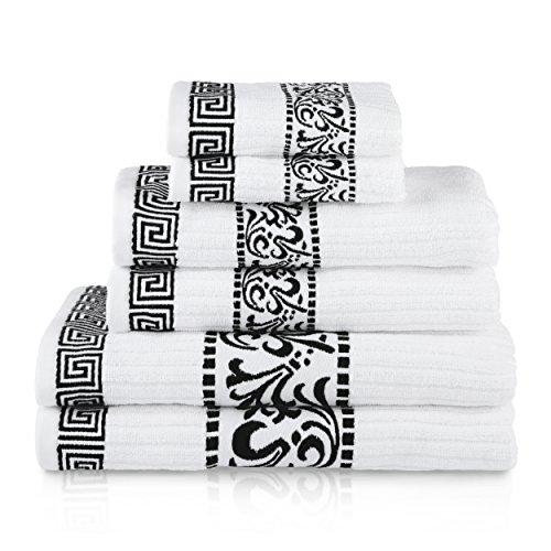 SUPERIOR Decorative Athens 6-Piece Cotton Bath Towel Set, Black
