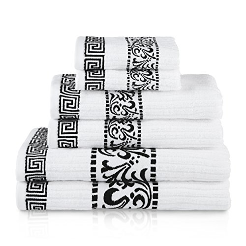 SUPERIOR Decorative Athens 6-Piece Cotton Bath Towel Set, Black