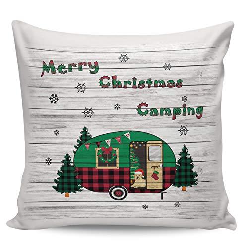 Fundas de almohada decorativas, felices navidades, tablones de madera para coche, ultra suave, funda de cojín cuadrada cómoda para sofá, dormitorio, 61 x 60 cm