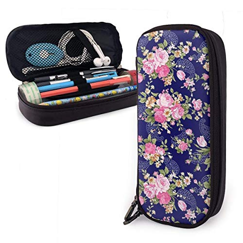 HHELI Navy Blue Base Floral Pencil Case,Large Capacity Pencil Bag with Durable Zipper Students Stationery Pen Bag for Pens and Other School Supplies