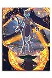ARYAGO Poster imprimé Pokémon - 45,7 x 61 cm - Affiche artistique de Pikachu Mewtwo et Yoda Canves - Art de bureau chic - Sans cadre