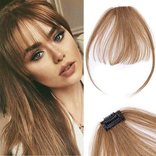 Frange A Clip Cheveux Naturel Lisse Volume Léger Avec Tempes Vrai Cheveux Invisible Frange Clip Frange A Plat - 6 Châtain Clair