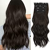 Sué Exquisite 4PCS Clip in Long Soft Glam Waves Thick Hairpieces 20 inches Dark Brown Hair Extensions Synthetic Fiber Double Weft Hair for Women Full Head