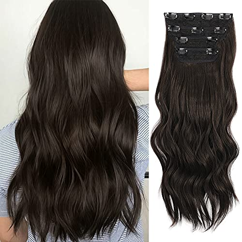 Sué Exquisite 4PCS Clip in Long Soft Glam Waves Thick Hairpieces 20 inches Dark Brown Hair Extensions Synthetic Fiber Double Weft Hair for Women Full...