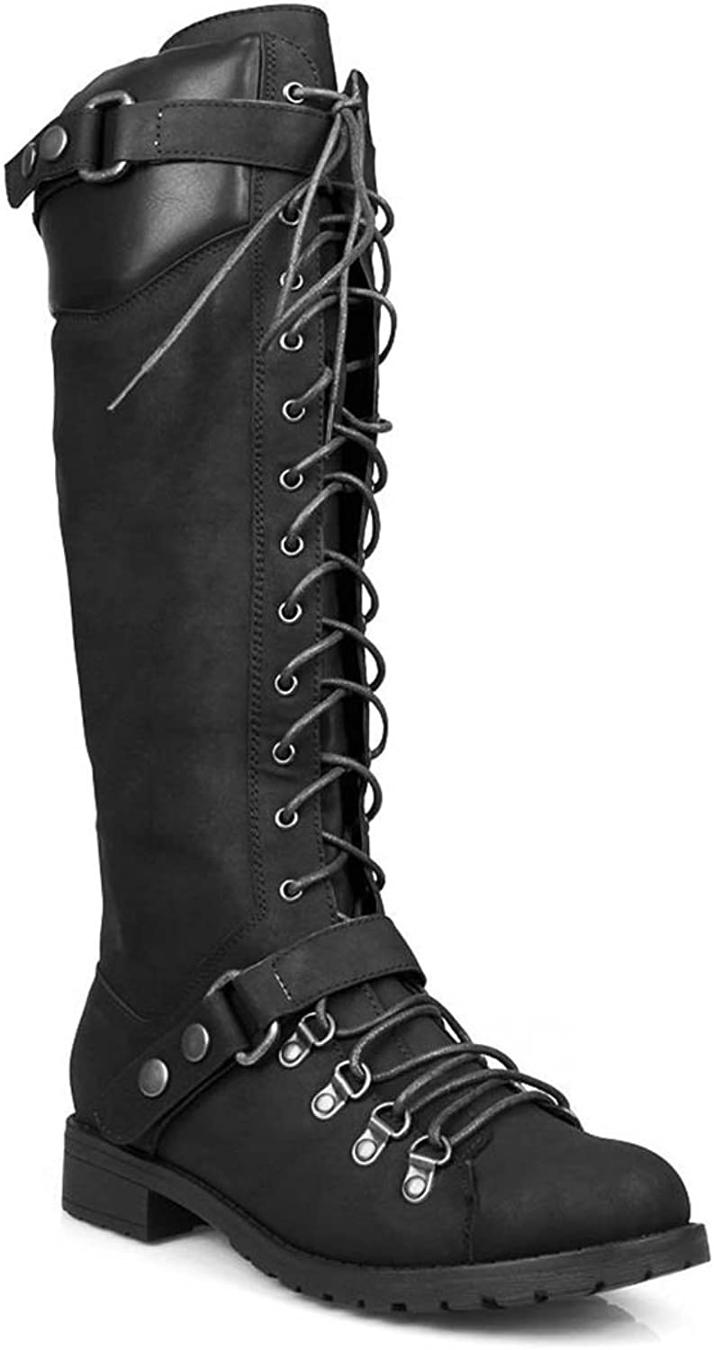 Fourever Funky Harness Moto Vegan Leatherette Knee High Lace Up Harness Moto Women's Boot