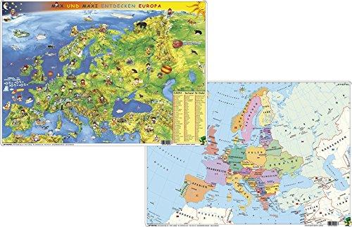 Kindereuropakarte physisch/politisch - DUO-Schreibunterlage klein: Max und Maxi entdecken Europa
