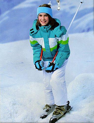 Mädchen Skianzug Skihose Skijacke Snowboardhose Snowboardjackre Schneehose Türkis/Weiß 134/140 - 4