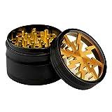 Lightning molinillo, Fancyli 4 piezas 2.48'tabaco Grinder - molinillo de especias molinillo de hierbas con un cepillo de limpieza (Gold)