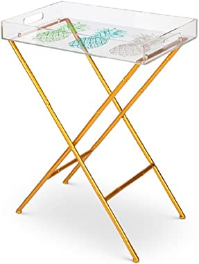 Lone Elm Studios Pineapple Tray Table with Legs Christmas, 22.1InL x 14.6InW x 28.6InH, Multicolor