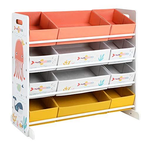 SONGMICS Spielzeugregal, Kinderzimmerregal mit 12 Stoffboxen, für Bücher und Spielzeug, Spielzeug-Organizer, Kinderzimmer, für Kinder, multifunktional, weiß GKRS04WT