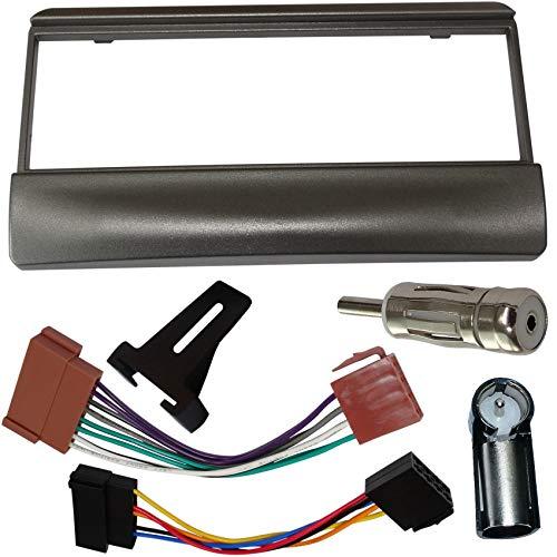 AERZETIX - Kit di montaggio per autoradio standard 1DIN - Mascherina telaio, cavo di collegamento e adattatori per antenna - Argento - C11147A