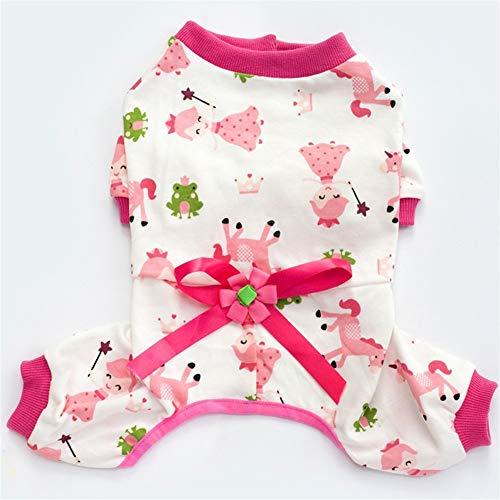nobrand New Pet Kleidung Lässige Kleidung Teddy Hunde-Bekleidung Vierbeinige Baumwollnette gedruckt Dog Small Dog Pyjamas Abbigliamento carino per animali domestici. (Color : Pink, Size : XXL)