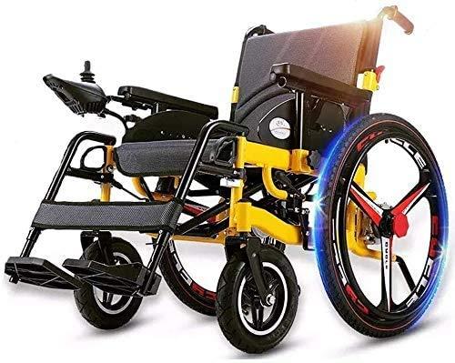 GQQ Comfort Power Elektrorollstuhl Hochleistungsklappbarer Rollator Sitzbreite 50 cm Und 360 ° Joystick Sicherheitsgurt Abnehmbare Fußstützen Gewicht Kapazität 100 Kg