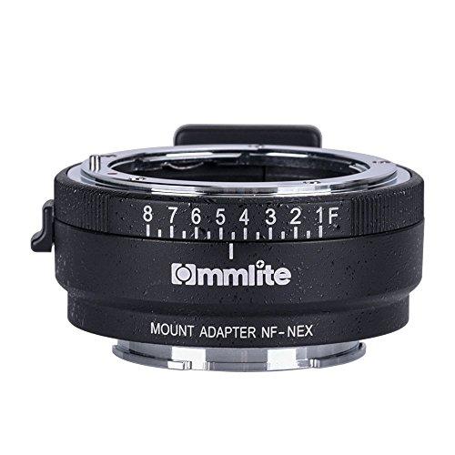 Commlite CM-NF-NEX Adaptador del Montaje de la Lente de Enfoque Manual para Nikon G, F, A, I, S, D Lente Sony NEX E Montaje cámara Sony A7 A7R NEX-3 NEX-5 NEX-7 NEX-VG10 con Dial de Apertura