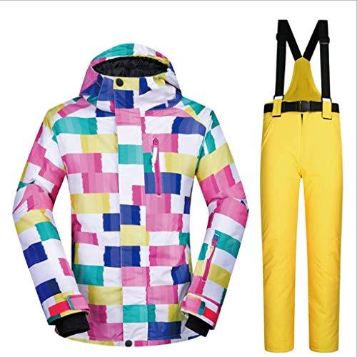 Zunruishop Costumes de Costume de Ski Femmes imperméable et Coupe-Vent Respirant Réchauffez Snowboard Vêtements de Plein air zéro 30 degrés (Color : Yellow, Taille : S)