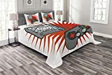 Lunarable Games Bedspread, Kids Video Games Themed Design in Retro Style Gamepad Console Entertainment, Decorative Quilted 3 Piece Coverlet Set with 2 Pillow Shams, Queen Size, Orange White