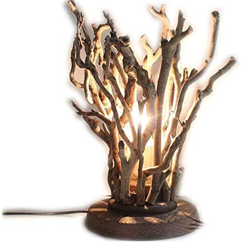 SDlamp Original Baum Holz Tischlampe, Vintage Stehpult Licht, LED-Licht Leuchte Home Decor, Für Schlafzimmer Hotel Nachttischlampe