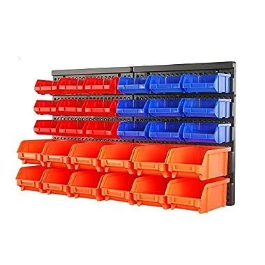 HORUSDY Wall Mounted Storage Bins Parts Rack 30PC Bin Organizer Garage Plastic Shop Tool - Best Unique Tool Gift for Men