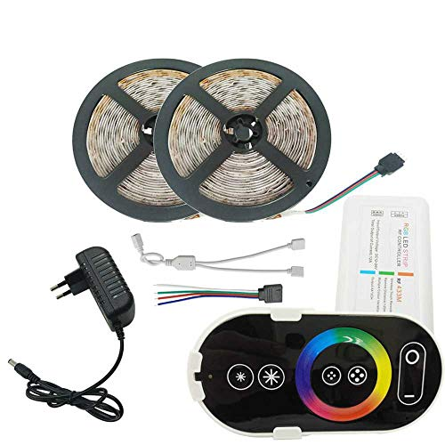 YSNMM 2835 3528 Led-strip-diodenbandlamp Dc12V SMD met RGB LED Full Touch Controller Ac-voeding Full Kit