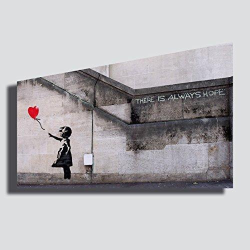 Quadro BANKSY Bambina palloncino cuore ragazza street art murales - RIPRODUZIONE STAMPA SU TELA Quadri Moderni Moderno Arte Astratto Cucina Soggiorno Camera da letto printerland.it (50x100 cm)