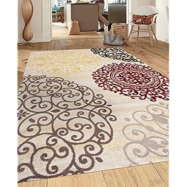 Rugshop Contemporary Modern Floral Indoor Soft Area Rug, 9' x 12', Cream