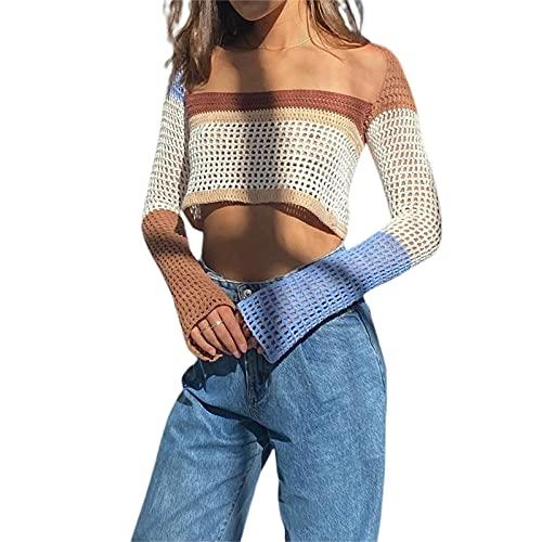 Rainbow Color Crochet Kit Crop Tops ver a través del hombro manga larga Top para mujer Verano Otoño...