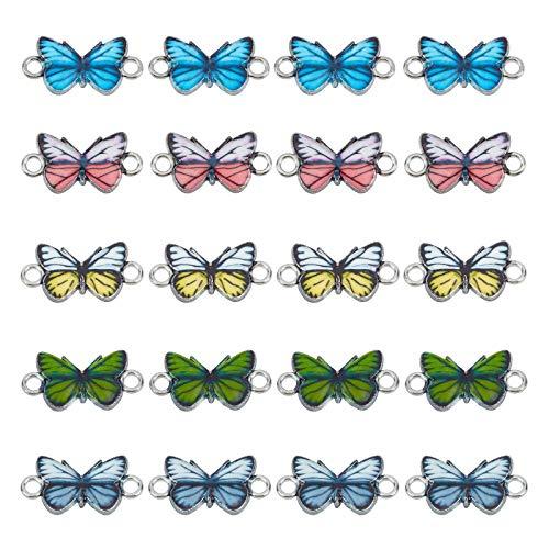 NBEADS 30 abalorios de mariposa, aleación esmaltada, conector de mariposa, colgante de metal, para...