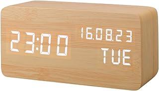 Despertador Digital, Leeron Reloj Digital de Madera con 3 Alarmas Programables, con Control de Sonido Inteligente y LED Brillo de Pantalla de Hora Fecha Semana Temperatura (Marrón)