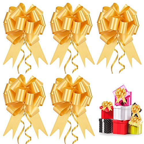 DECARETA 30 Stück Deko Schleifen Gold Geschenkschleife Kunststoff Ziehschleifen Dekoschleife Großes Geschenk Bögen Autoschleifen für Hochzeit Geburtstage Geschenkverpackung Auto Deko Tüten Zuckertüten