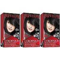 3-Pack Revlon Colorsilk Beautiful Permanent Hair Color Dye With Keratin (Soft Black)