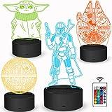 Star Wars Geschenke 3D Lampe Spielzeug Nachtlicht mit 4