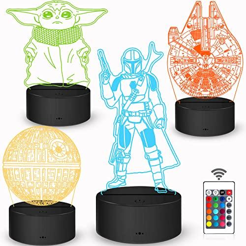 Star Wars Geschenke 3D Lampe Spielzeug Nachtlicht mit 4 Mustern & 7 Farbwechsel Dekor Lampe - Ideale Geschenke für Star Wars Fans Herren Jungen & Mädchen Männer