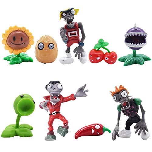 Mini Juego de Figuras Decoración para Tartas Tomicy 9pcs Plantas de contra Zombies Caricatura Cake...