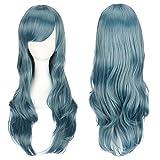 ColorfulPanda 70cm/ 28 pulgadas encantador peluca de pelo completo azul largo rizado anime Cosplay Halloween anime traje disfraz fiesta Pelucas sintéticas para mujeres niñas (azul)