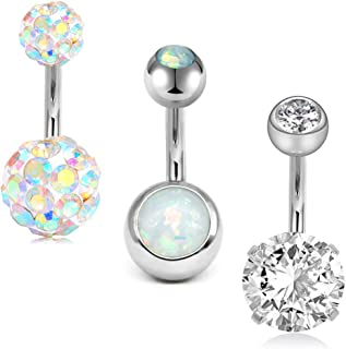 MODRSA 14G Stainless Steel Belly Button Rings for Women Girls Navel Barbell Stud CZ Body Piercing Rings 6mm 8mm 10mm Bar