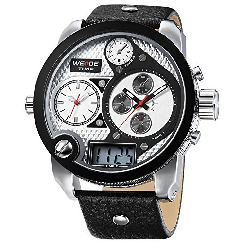 CursOnline - Elegante reloj de hombre y niño Weide WH2305 XXL Oversized triple horario analógico y digital luz LED Water R.