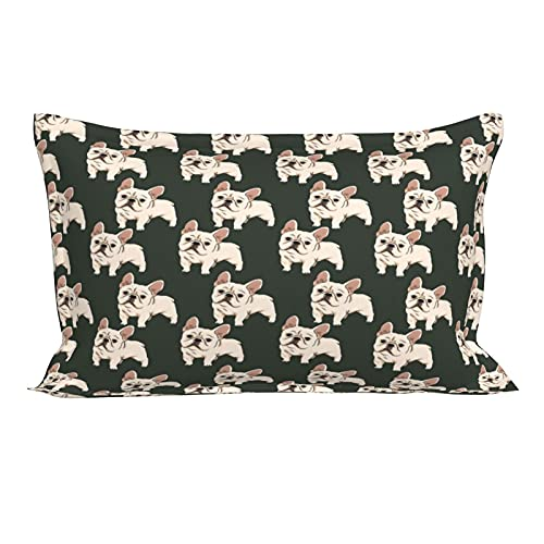 Queen Pillows Case, French Bulldog Pattern Printed Pillow Shams, 20 Inch x 30 Inch
