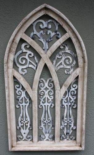 JumpingLight Wooden Antique Style Church Window Frame Primitive Wood Gothic 30 1/2'', Shabby Cast Iron Decor for Vintage Industrial Home Accessory Decorative Gift