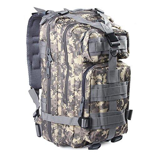3P Assault Sac à dos camping randonnée Voyage pour homme et femme Digital Molle 30L Sac à dos Jour Lot militaire extérieur Camouflage tactique Packs en nylon imperméable à l'eau, ACU