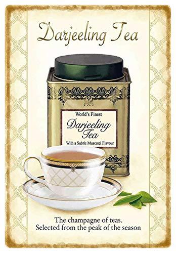 Blechschild 20x30cm gewölbt Darjeeling Tea Tee The Champagne of Teas Deko Geschenk Schild