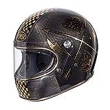 Casco de Moto Premier Trophy Carbon Nx Gold Chromed, Negro/Oro, M