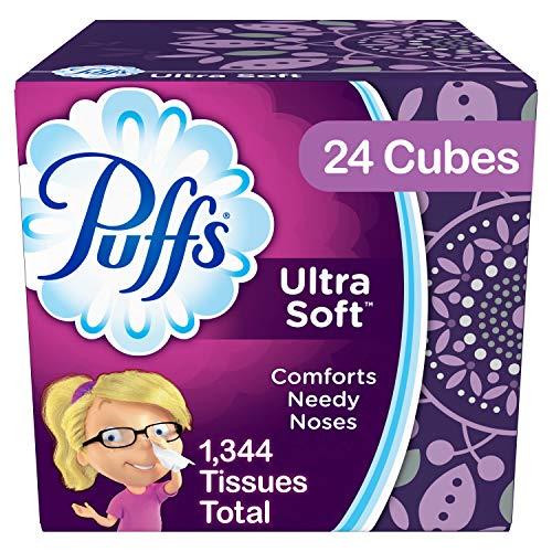 Puffs Ultra Soft Facial Tissues, 24 Cubes, 56 Tissues per Cube (1344 Tissues Total)