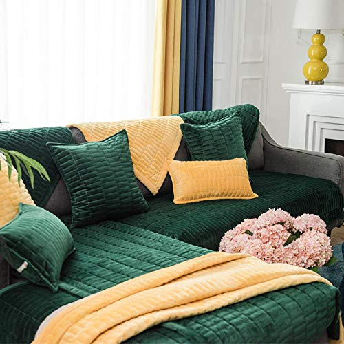 sofa covers, vier seizoenen universele kristal fluwelen sofa kussen, antislip sofa hoes-donkergroen_90 * 90cm, bank hoes verstelbaar
