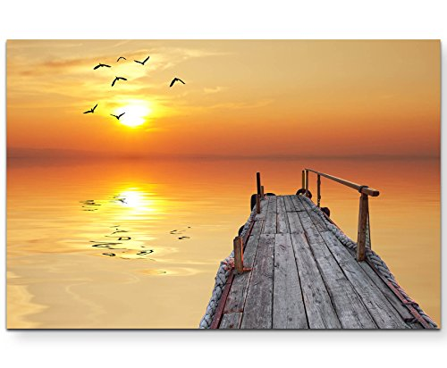 Paul Sinus Art Leinwandbilder | Bilder Leinwand 120x80cm Sonnenuntergang über einem Alten Steg