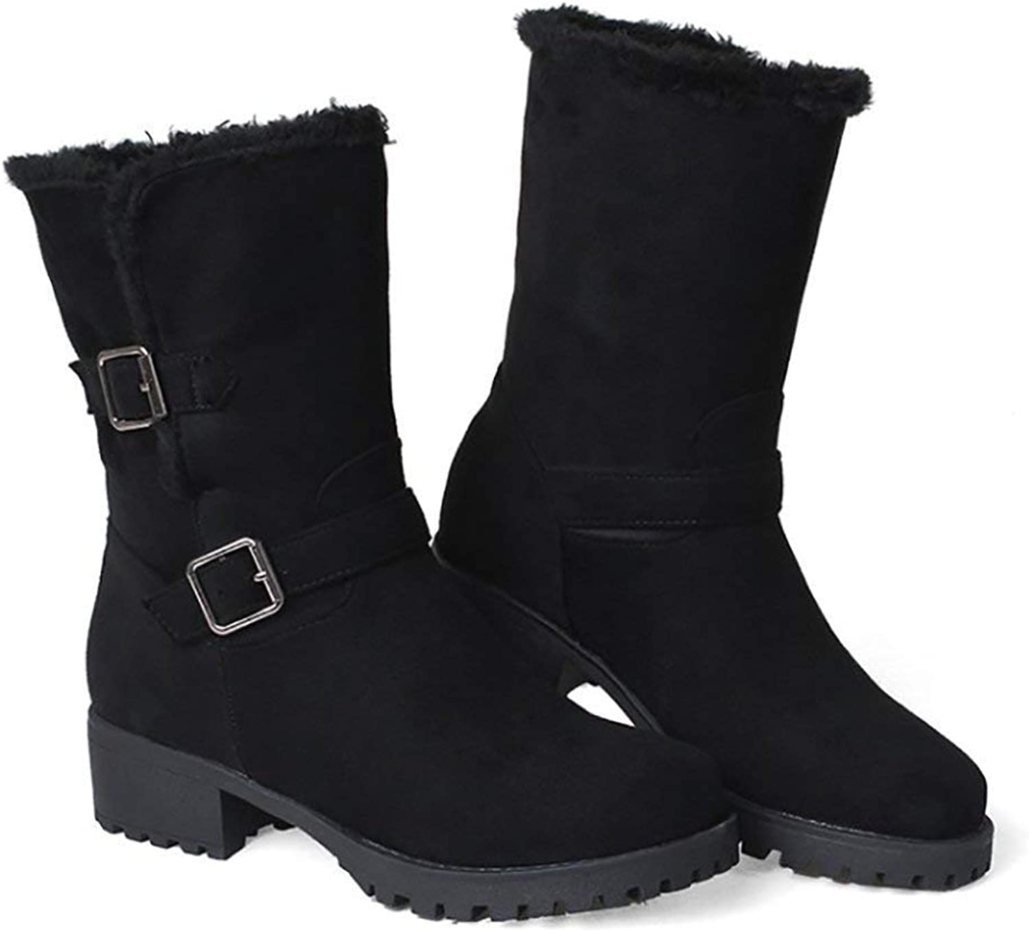 Women's Winter Low Heel Snow Boots Buckles Warm Cozy Suede Mid Calf Ankle Boots(0 0)