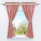 hongya - set di 4 tende da cucina con fermatenda, 120 x 80 cm, colore: rosso