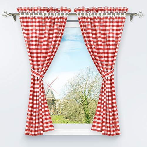 HongYa Set di 4 tende da cucina con fermatenda a quadretti (A x L x P): 145 x 80 cm, colore: Rosso